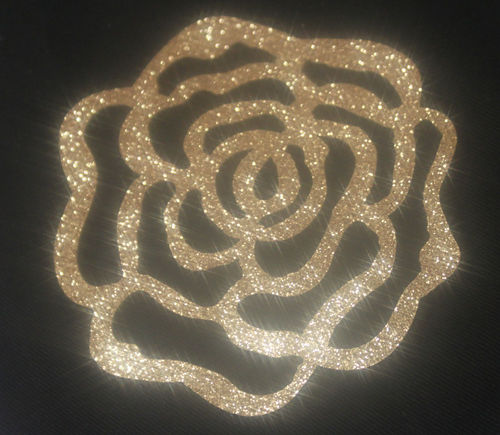 2 x ROSE couleur Champagne glitter thermocolant hotfix patch custom bling scintillant n°103