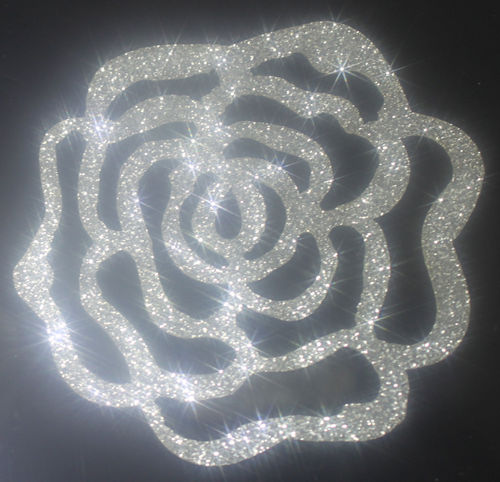 2 x ROSE couleur ARGENT glitter thermocolant hotfix patch custom bling scintillant n°103