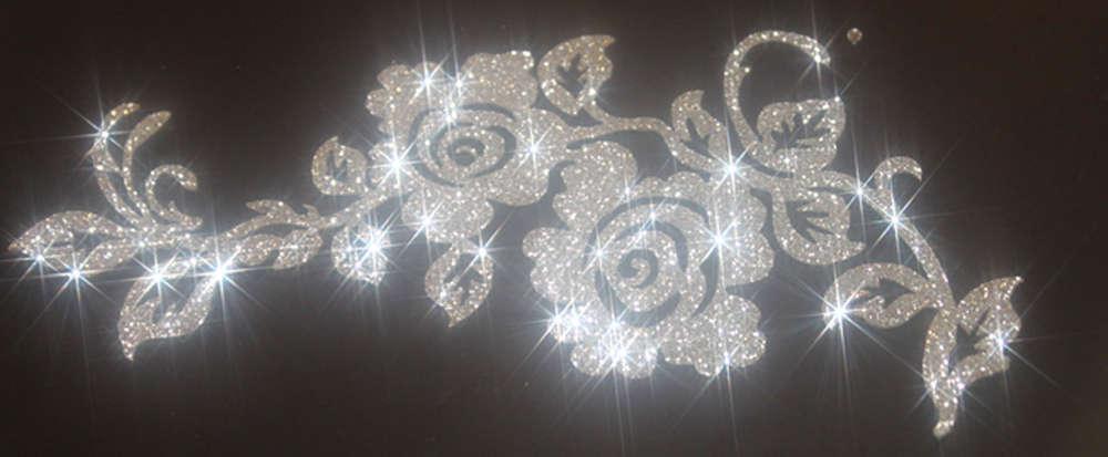 COURONNE FLEURS COULEUR CHAMPAGNE Patch termocollant  hotfix Glitter 13 cm