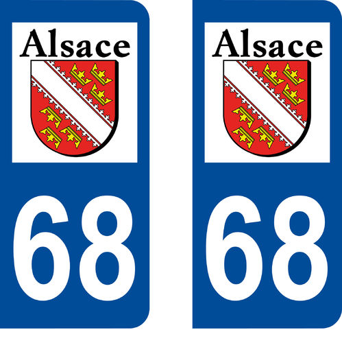 2 Stickers French Department 68 Plate Registration