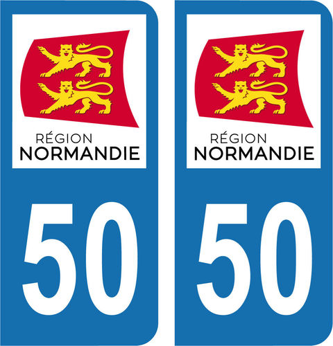 2 Stickers French Department 50 Plate Registration