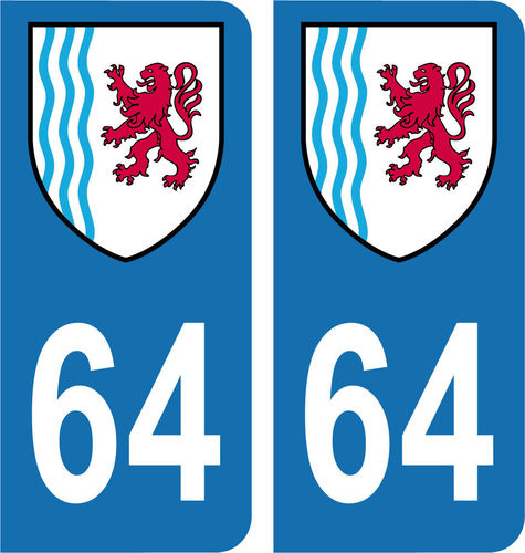 2 Stickers French Department 64 Plate Registration