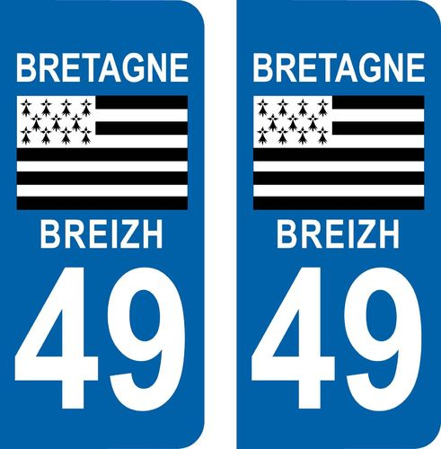 2 Stickers French Department 01 Plate Registration