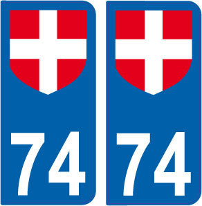 2 Stickers French Department 74 Plate Registration