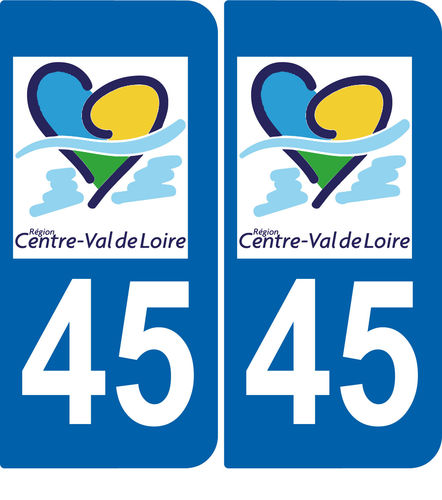 2 Stickers French Department 45 Plate Registration