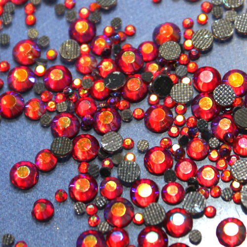 1000 rhinestones hotfix s06 color N°202 AB red 2,1mm