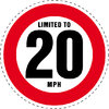 Limited to 20 MPH Vehicle Speed Restriction Bumper Printed Sticker Car Van 10cm