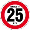Limited to 25 MPH Vehicle Speed Restriction Bumper Printed Sticker Car Van 10cm
