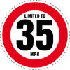 Limited to 35 MPH Vehicle Speed Restriction Bumper Printed Sticker Car Van 10cm