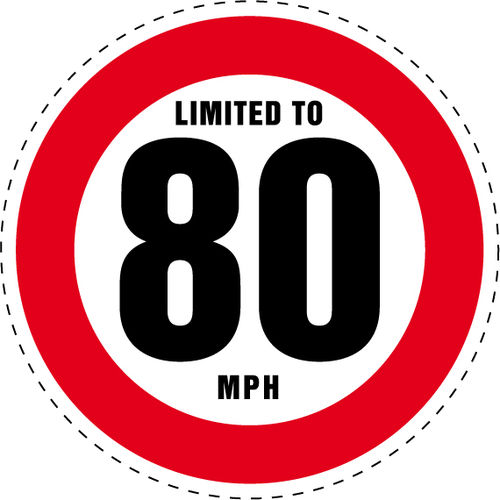 Limited to 80 MPH Vehicle Speed Restriction Bumper Printed Sticker Car Van 10cm