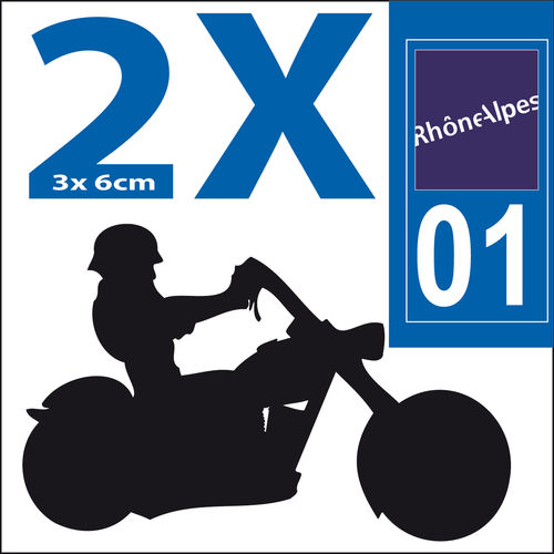 MOTO 2 stickers 3x6 cm Département 01