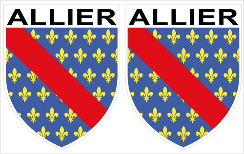 2 x STICKER BLASON - ALLIER département 03 - Autocollant - 4x5 cm
