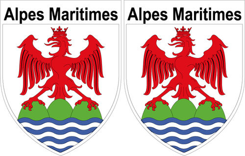 2 x STICKER BLASON - ALPES MARITIMES département 06 - Autocollant - 4x5 cm