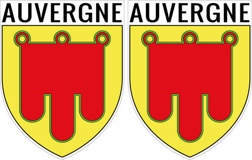 2 X escutcheon - AUVERGNE STICKER BLAZON