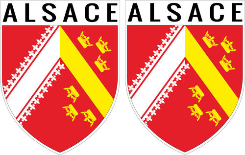 2 X escutcheon - ALSACE STICKER BLAZON