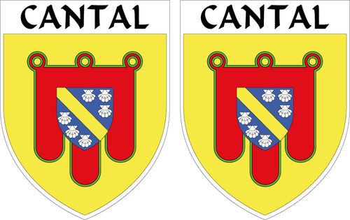 2 x STICKER BLASON - CANTAL département 15 - Autocollant - 4x5 cm