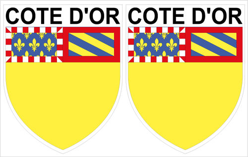 2 x STICKER BLASON - COTE D'OR département 21 - Autocollant - 4x5 cm