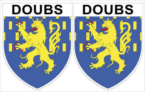 2 x STICKER BLASON - DOUBS département 25 - Autocollant - 4x5 cm