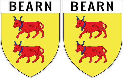 2 X escutcheon - BEARN STICKER BLAZON