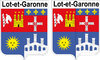 2 x STICKER BLASON - LOT ET GARONNE département 47 - Autocollant - 4x5 cm
