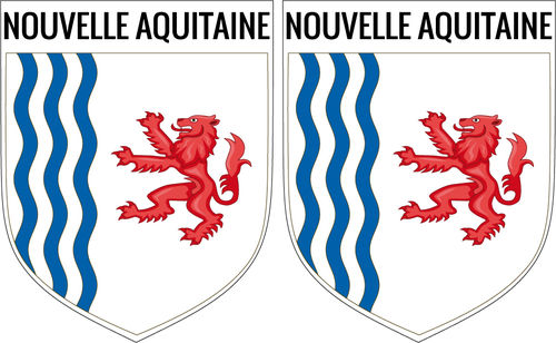 2 X escutcheon - NOUVELLA AQUITAINE STICKER BLAZON
