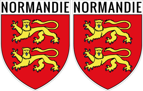 2 X escutcheon - NORMANDIE STICKER BLAZON