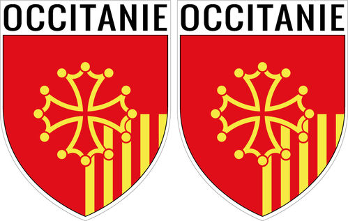 2 X escutcheon -OCCITANIE STICKER BLAZON