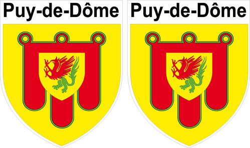 2 x STICKER BLASON - PUY DE DOME département 63 - Autocollant - 4x5 cm