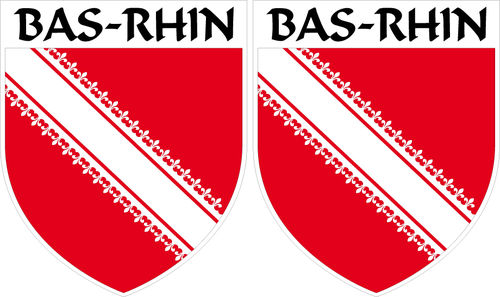 2 X escutcheon - BAS-RHIN STICKER BLAZON