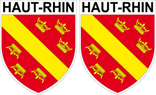 2 X escutcheon - HAUT-RHIN STICKER BLAZON
