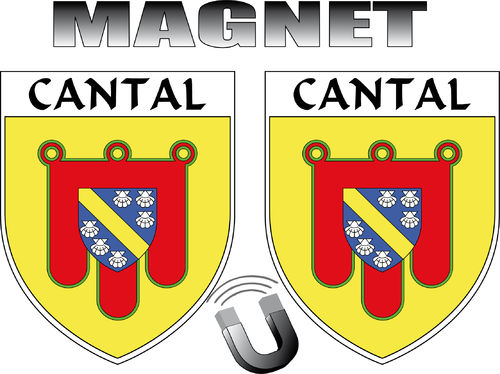 2 x MAGNET FORME BLASON -  département 15 CANTAL - ECUSSON MAGNETIQUE  - 4x5 cm