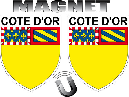 2 x MAGNET FORME BLASON -  département 21 COTE D'OR - ECUSSON MAGNETIQUE  - 4x5 cm