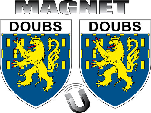 2 x MAGNET FORME BLASON -  département 25 DOUBS - ECUSSON MAGNETIQUE  - 4x5 cm