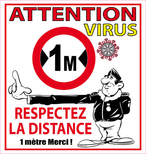 Sticker covid virus attention distance 1 mètre autocollant 10cm Vinyle