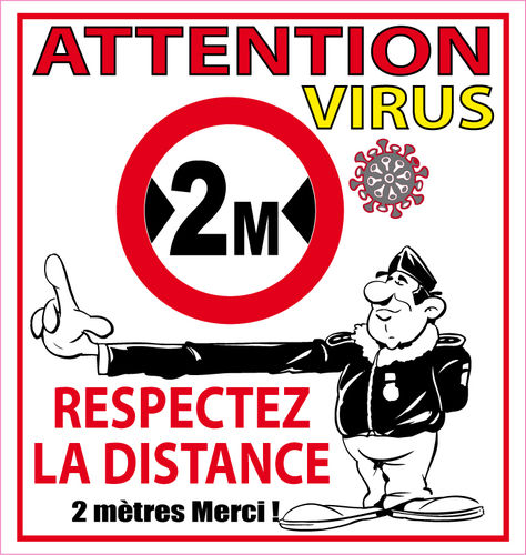 Sticker covid virus attention distance 2 mètre autocollant 10cm Vinyle